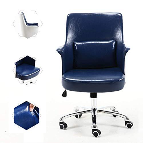 N/Z Tägliche Ausrüstung Stühle Bürostuhl Schwarzes Öl Wachs Leder Bequemer Liegestuhl Extra gepolsterter Dreh Home Office Blau