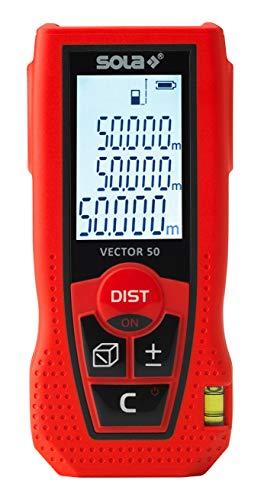 SOLA Vector 50 I Entfernungsmesser 50 Meter mit 7 Messfunktionen I Laser Entfernungsmesser mit integrierte Libelle I Distanzmesser mit Softgrip und ergonomischem Design I handliches Lasermessgerät