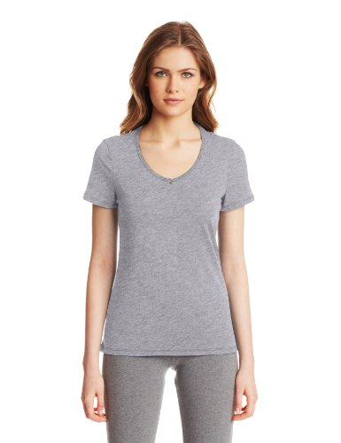 Nautica Sleepwear Women's Knit Jersey V-Neck Tee, Ash Heather, Large