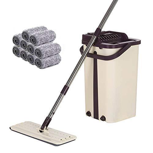 MorNon Selbstreinigender Mopp Magic Bucket + 10 Stück Mop Tuch Microfiber Spinning für Holzböden