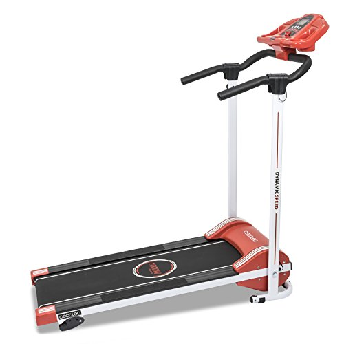 Cecotec Cinta de Andar RunnerFit Step Red Series. 12 programas predefinidos, Pantalla LED, 10 Km/h, con Altavoces, Sistema Seguridad Magnético, Plegable, 1000 W.