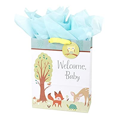 "Hallmark 15"" Extra Large Baby Gift Bag with Tissue Paper (Woodland Animals) for Baby Showers, New Parents and More"