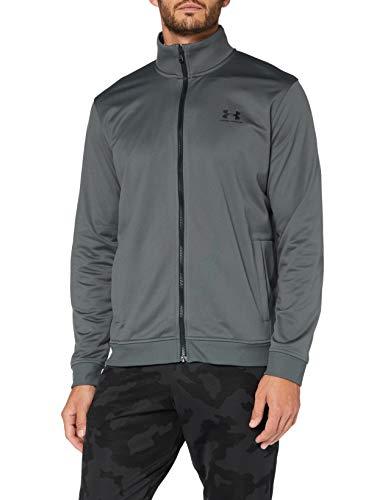 Under Armour Herren Sportstyle Tricot Jacket bequeme und warme Sweatjacke für Männer schnell trocknende Sportjacke mit loser Passform, Pitch Gray Black (012), XXL EU