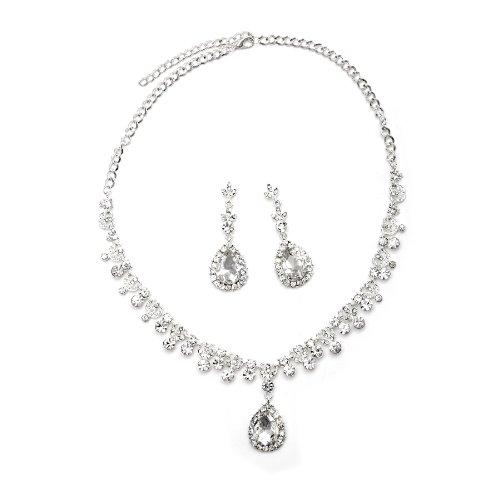 Topwholesalejewel Silver Crystal Rhinestone Teardrop Dangle Earrings & Braids Accented Necklace Jewelry Set