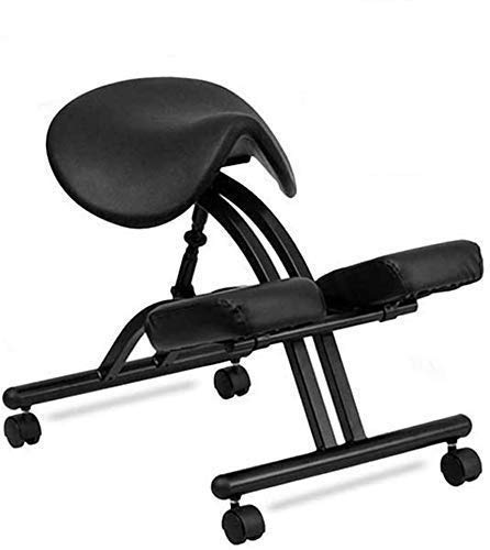 N/Z Daily Equipment Ergonomic Kneeling Chair/Flexible Saddle Chair Adjustable Angle Seat Stool for Home and Office Neck and Back Pain Relief Improve Posture Black