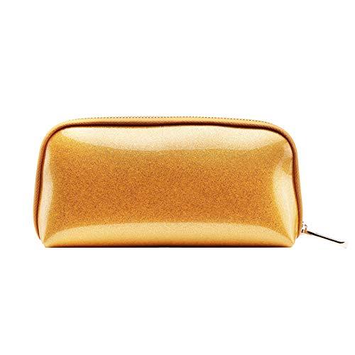 Voyage sac de rangement sac de lavage sac cosmétique femme main prendre pvc shell sac cosmétique 22 * 5 * 11 CM jaune d'or