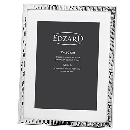 Edzard Portaretratos/Marco de Fotos Fano para Fotos 15 x 20 cm, con paspartú, Chapado en Plata, Resistente al...