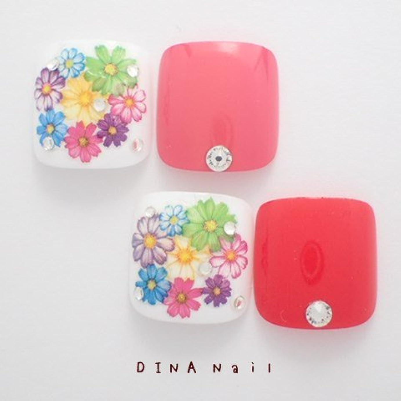 しなやか信者ほとんどの場合DINAネイル 押し花敷詰 ぺディキュアS(25678番) ネイルチップ ピンク