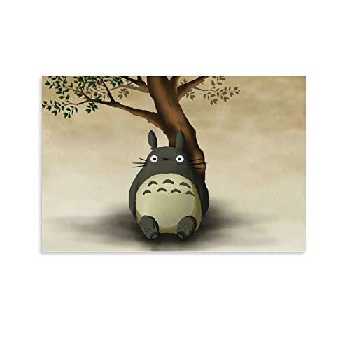 DRAGON VINES Película de animación Mi vecino Totoro sentado bajo el árbol, lindas pinturas modernas contemporáneas para la sala de estar y la decoración del club de 20 x 30 cm
