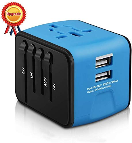 HAOZI Universal Travel Adapter, All-in-one International Power Adapter with 2.4A Dual USB, European...