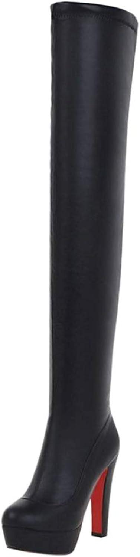 NIGHT CHERRY Women Fashion High Heel Over The Knee Boots Zipper
