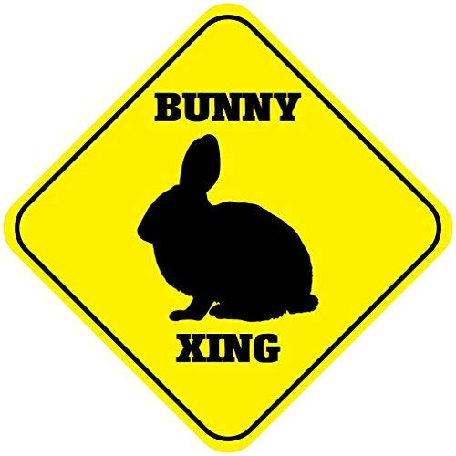 Bunny Crossing Funny Novelty Sign Aluminum Metal Sign 12x12 inch