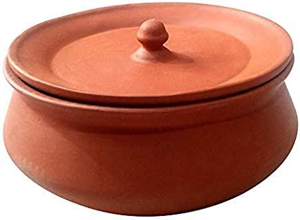 HEALTHYINDIA - Brown Terracotta Clay Curd Pot with Lid - 750 ml, Brown (Curd Pot D3)