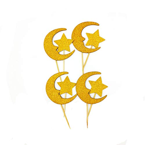 Gold Glitter Moon Star Cupcake Topper Baby Baby Shower or Birthday Party Decoration Pack of 24