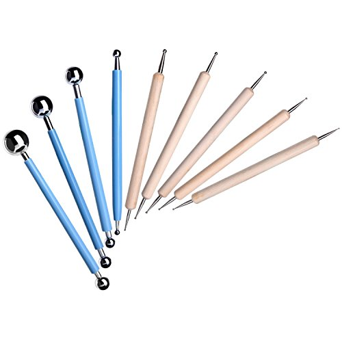 Set de 9 estiletes con bolas para modelar, esculpir, tallar, puntear en cerámica y arcilla, de la marca Shappy