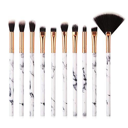 Ensemble de brosse de maquillage, 10pcs Premium Eye brosses cosmétiques pour eyeliner Eye Shadow sourcil, fibre synthétique poils cosmétiques brosse outil