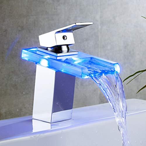 Ideko - Grifo de lavabo con LED de cristal de latón moderno y flexible (2 unidades)