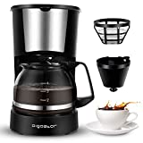 Aigostar Buck - Coffee Makers, 4 Cup Coffee Maker with Coffee Filter and Glass Carafe, Small Drip Coffee Machines with Stainless Steel Decoration for Home, Travel & Office, Black