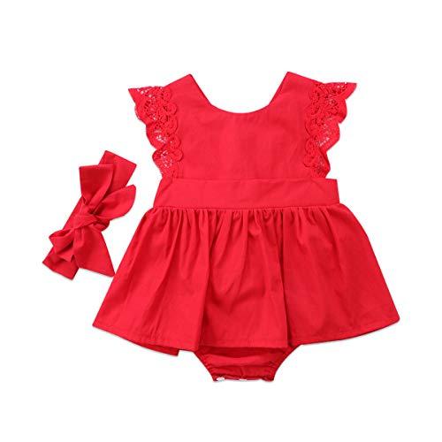 MAHUAOYIXI Mameluco de Vestido Verano Niña Pequeña Falda de Mono Rojo de Manga Corta de Encajes de Cuello...