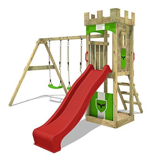 FATMOOSE Parco giochi in legno TreasureTower Giochi da giardino con altalena e scivolo rosso, Torre d'arrampicata da esterno con sabbiera e scala di risalita per bambini
