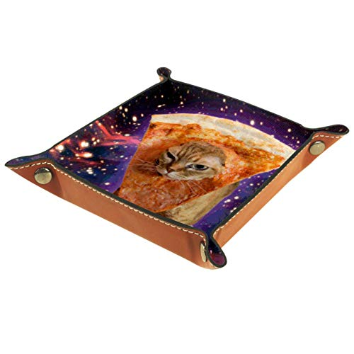 ZDL Cat Star Sky Pizza Caja de almacenamiento organizador para llaves, teléfono, monedas, relojes, etc. 20.5 x 20.5