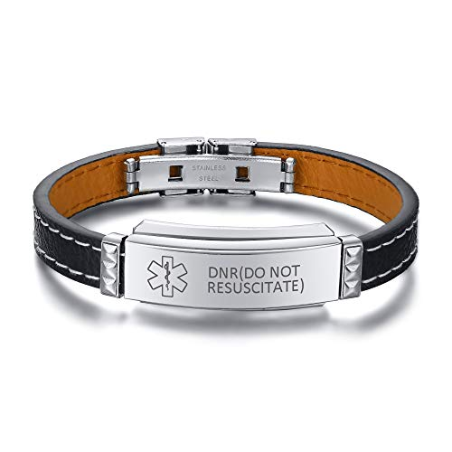 DNR(DO NOT RESUSCITATE) Bracelet Pre-Engraved Medical ID Emergency Identification Wristbands PU Leather Stainless Steel Bracelets for Men Boy