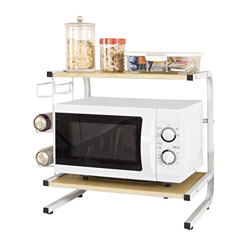 SoBuy – Estantería de almacenamiento para cocina, con ruedas, diseño en forma de torre, color blanco, madera, dorado, V-FRG092-N 52x35x51cm