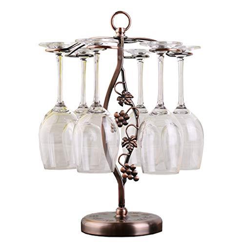 LIYANJJ Creative Tree Leaves Red Wine Cup Holder Modern Minimalist Counter Bar Metal Goblet Storage Rack with 6 Hooks Sand