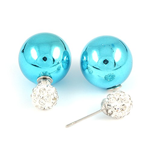 Idin Jewellery - Pendientes de perlas de plástico turquesa con bola de cristal de doble cara