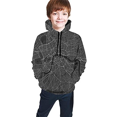 Sweatshirts Teenager Kapuzenpullover London, England Map (White On Black) Classic Comfortable Sweatshirts Teen Hooded Sweate Tops with Pockets Comfortable for Boys Girls