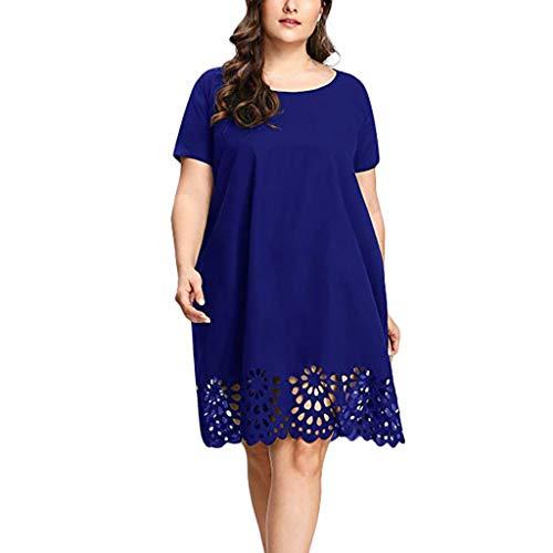 TOPKEAL Vestido Azul de Tallas Grande y Color Liso Ahueca hacia Fuera para Mujer Camisora de Manga Corta para Gorditas