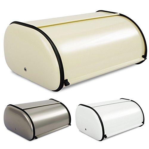 casa pura® Brotkasten Bernd | lebensmittelechte Brotaufbewahrung | Brotbox mit Belüftungslöchern | 3 Farben (Creme)