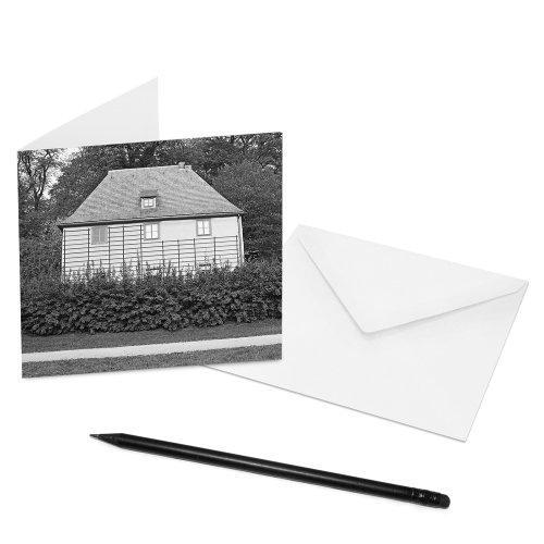 10er-Set COGNOSCO Klappkarten Weimar - 14 x 14 cm - Innenseiten: blanko - Motiv: Goethes Gartenhaus - mit Briefumschlag