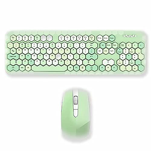Juego de Teclado y Mouse inalámbricos - 2.4 GHz Teclado mecánico Teclado de computadora Máquina de Escribir Retro con Mouse inalámbrico Compacto y Teclas Multimedia dedicadas