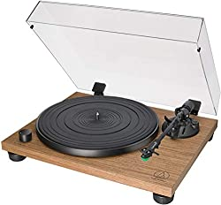 Enjoy your favorite 33 1/3 and 45 RPM vinyl records with your stereo system and the Audio-Technica AT-LPW40WN Walnut Stereo Turntable. It has a built-in switchable preamp, allowing you to connect directly to your stereo system or speakers of choice v...
