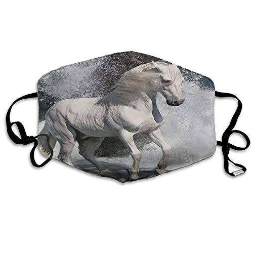 Mond Cover Wild White Paarden Anti Dust Oor Loops Herbruikbare Wasbare Gezichtsbescherming Mond Sjaal