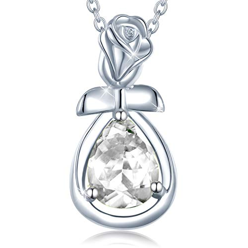 Agvana Fine Jewelry April Birthstone Necklace for Women Sterling Silver Simulated Diamond Rose Flower Pendant Necklace Anniversary Birthday Gifts for Girls Her Wife Mom Grandma Daughter Yourself