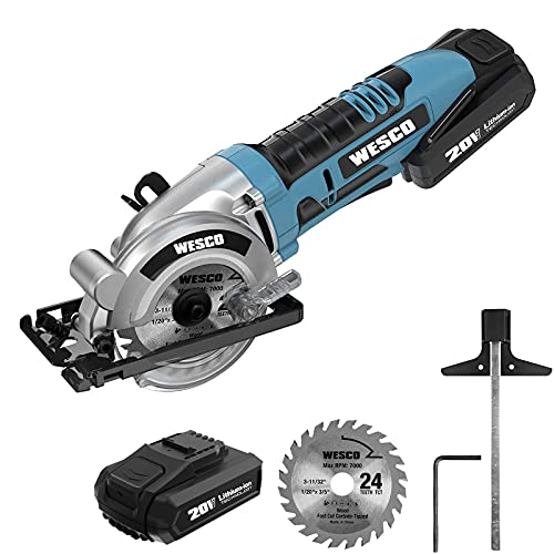 Cordless Circular Saw, WESCO 20V 3-3/8'' Power Circular Saw with 2.0Ah Li-Ion Battery and Fast Charger, MAX Cutting Depth 1-1/8