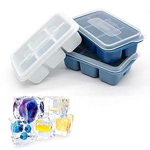 bandeja hielo, bandeja de cubitos de hielo con tapa, cubos de hielo 6 compartimentos, cubitera, para whisky / cócteles / zumo, 3 piezas