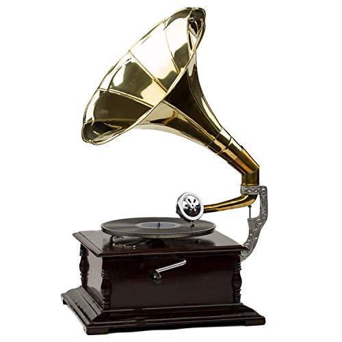 aubaho Grammofono a Tromba con Piatto in ceralacca Stile Classico