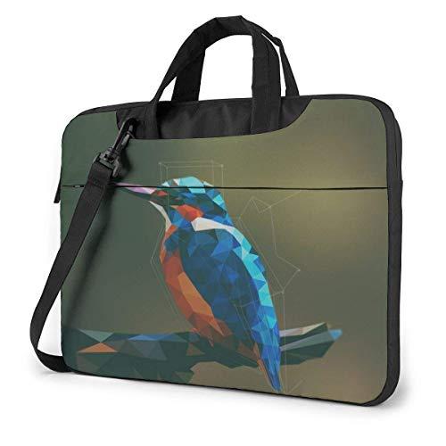 Laptop schoudertas dragen laptop tas 15,6 inch, vogel met blauwe veren Computerhoes afdekking met greep