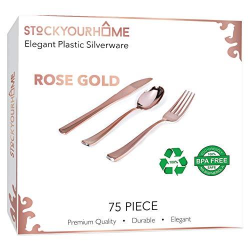 75 Piece Plastic Rose Gold Flatware Set,