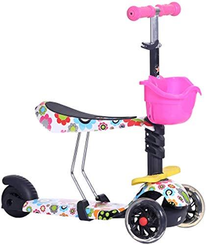 HFJKD Kinderen baby scooter kids 5in1 PU 3 wielen Knipperende Swing Auto Lifting 2-15 Jaar Kinderwagen Rit Fiets Voertuig Outdoor Balans Speelgoed