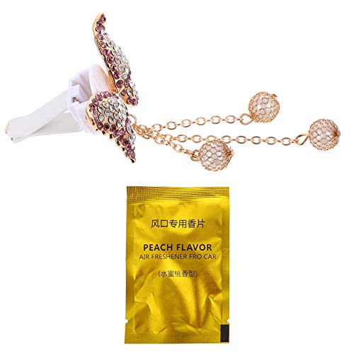 FAVOMOTO Voiture Évent Clip Parfum Alliage Strass Papillons Pendentif Aromathérapie Désodorisant De Voiture Charme pour Sortie De Voiture Décoration (D'or)