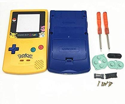 Full Housing Shell Case Cover Pack with Screwdriver Buttons for Nintendo Game boy Color GBC Repair Part-Yellow&Blue.