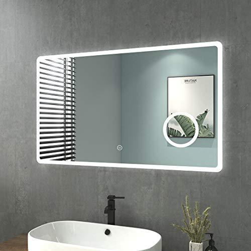 welmax Espejo de baño con iluminación, 100 x 60 cm, espejo de baño LED blanco frío, espejo de...