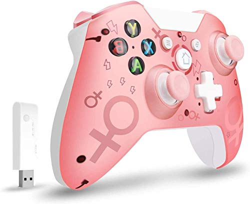 Lampelc Controller Wireless per Xbox One, Controller Wireless per Xbox Controller di Gioco Gamepad Joystick per Xbox One, PC e PS3, Nessun Jack per Cuffie (Rosa)
