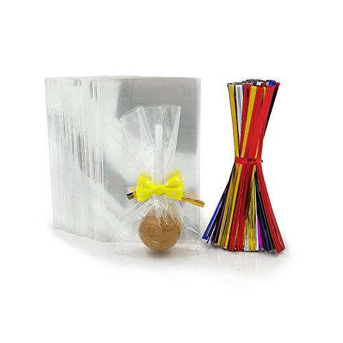 200 Clear Treat Bags with 200 Pcs Twist Ties 20 Bowknot 5 Colors?Clear Cellophone Bags Party Favor Bags for Lollipop Cake Pop Candy Buffet Chocolate Cookie Wedding Supply (2.3'' x 4'')