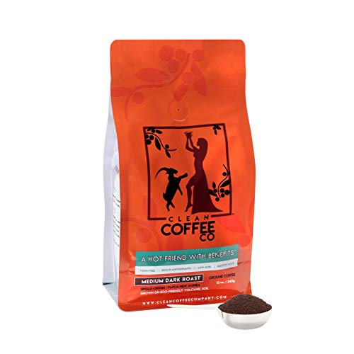 Clean Coffee Co Ground Coffee, Medium Dark Roast, 12 Ounce Bag, Single-Origin, Toxin-Free, Rich In Antioxidants, Low Acid, Smooth Taste