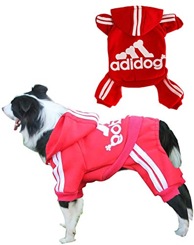 Rdc Pet Adidog Dog Hoodies, Clothes,Fleece Jumpsuit Warm Sweater,4 Legs Cotton Jacket Sweat Shirt Coat for Small Dog Medium Dog Large Dog (Red,6XL)